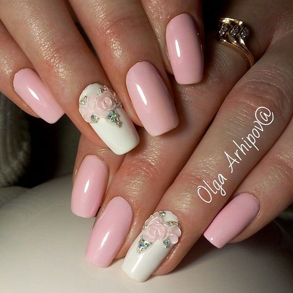 Another spring design with the embossed flowers and rhinestones on the  list. The combination of nude pink with white is just great for spring  season. - 60 Nail Art Examples For Spring Pinterest Spring Design, Nude