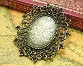6 pcs Cameo Settings Antique Bronze Pendant Trays Bezel 29x20mm CH0193 ~ $3.85 for 6