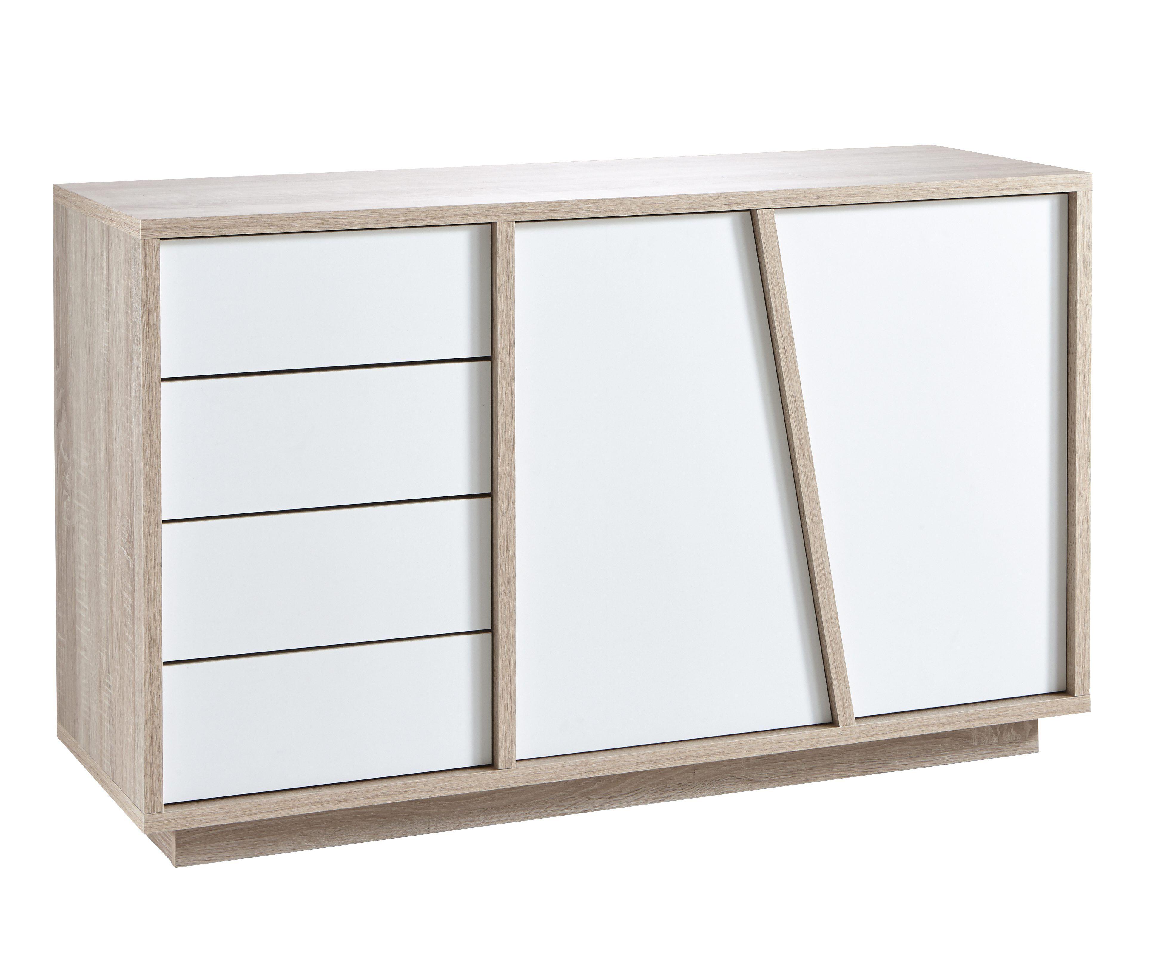 Buffet 2p 4t Evasion Blanc Et Ch Ne Evasion Mobilier Salon Et  # Meuble Scandinave Blanc Et Chene