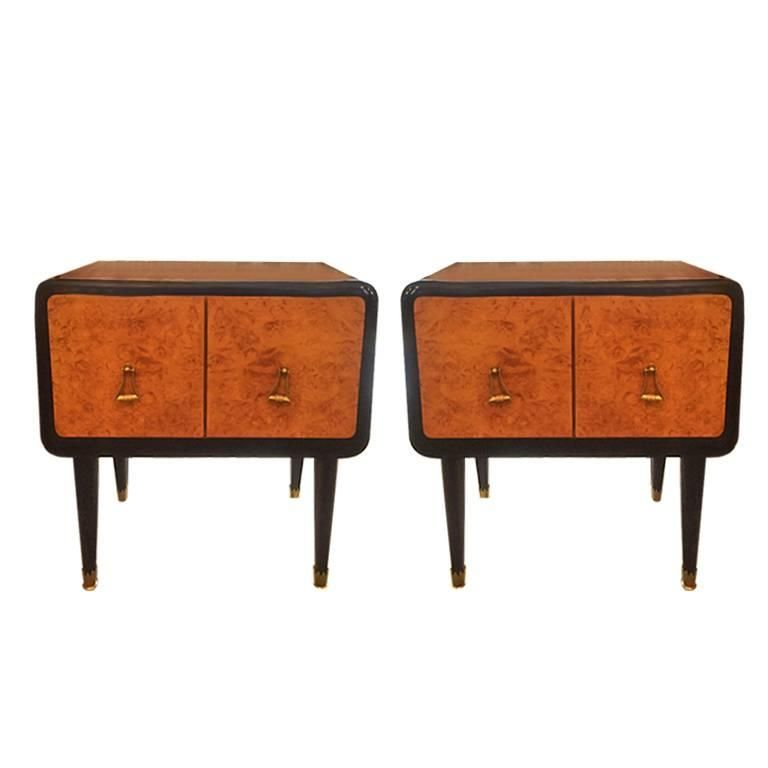 Pair Of Bedside Tables In Rosewood And Briar Root Original Italy