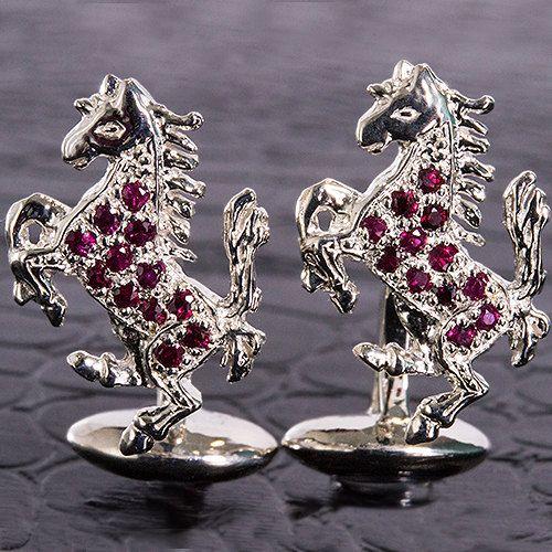 Ruby Wedding Gifts For Men: Awesome Genuine Ruby Ferrari Cufflinks Mens Jewelry