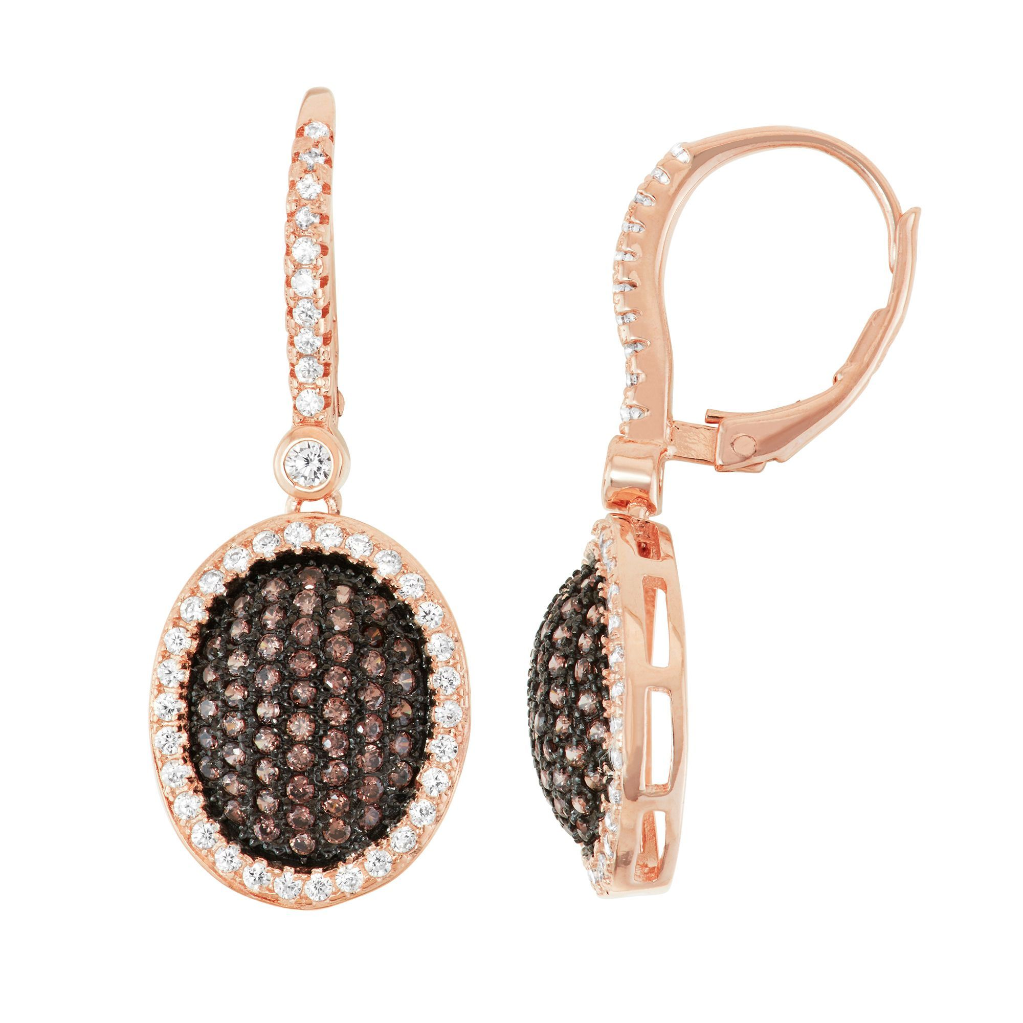 Gioelli Rose Gold over Silver Cubic Zirconia Flower Pave Leverback Earrings