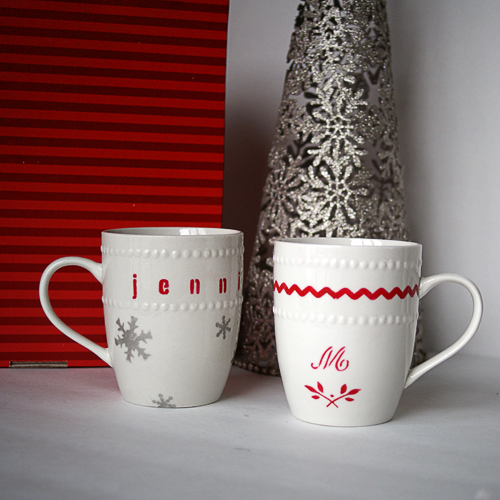 Stencil designs onto plain mugs or cups. The contact paper is ...
