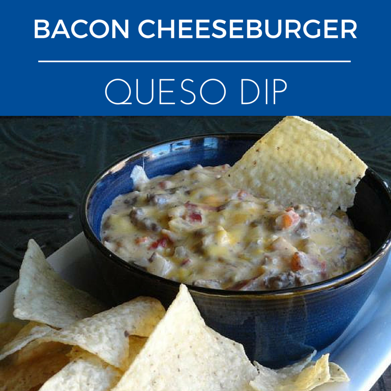 Bacon Cheeseburger Queso Dip Nice way to kick-up queso. I loved the addition of bacon in this recipe. This is a super easy party dip.  #baconcheeseburgerdip