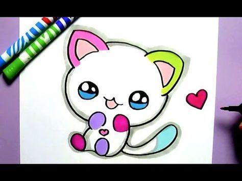 Como Dibujar Gato Kawaii Paso A Paso Dibujos Kawaii Faciles How To Draw A Cat Youtube Cute Drawings Kawaii Drawings Rainbow Cat