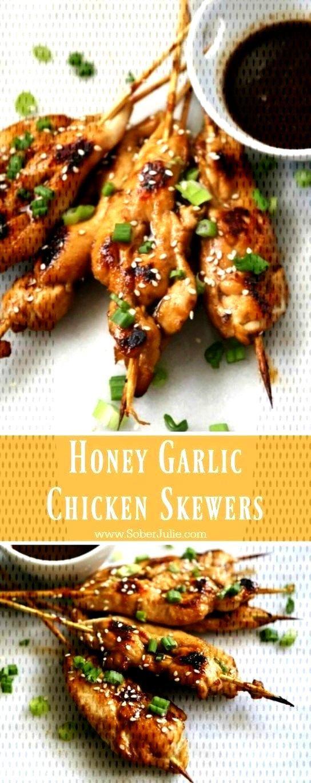 Honey Garlic Chicken Skewers - Sober Julie Honey Garlic Chicken Skewers - Sober Julie ,