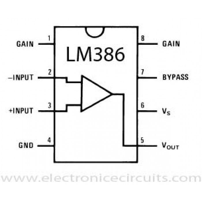 Lm386 Low Voltage Audio Power Amplifier Audio Amplifier Power Amplifiers Electronic Circuit Projects