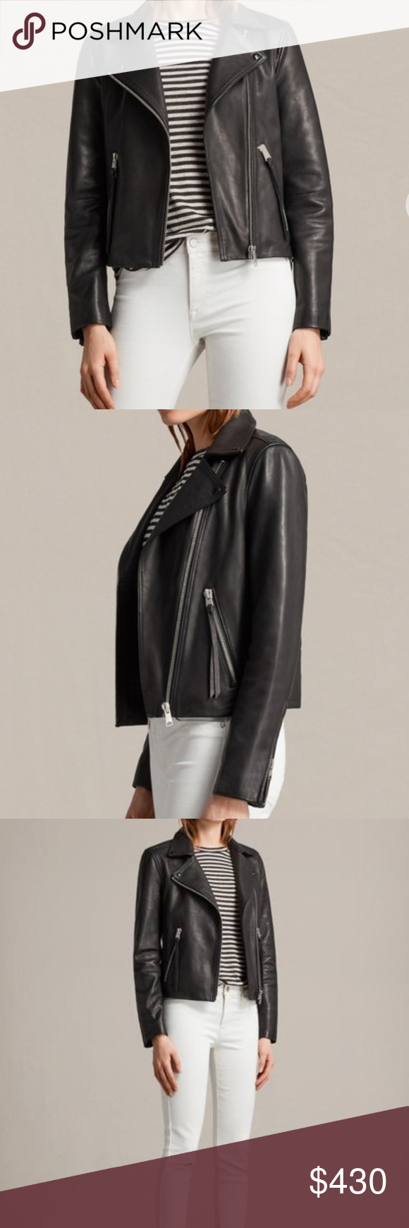 ALL SAINTS Dalby Leather Jacket, Black Black moto jacket