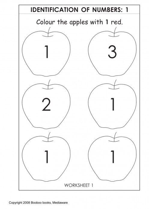 Printable Kindergarten Worksheet  Number Identification