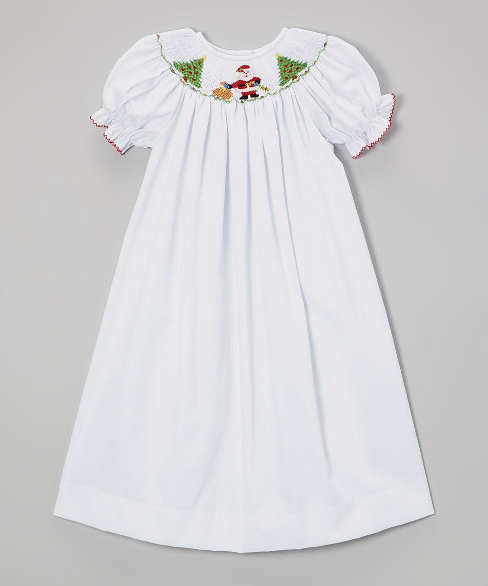 White Santa & Christmas Tree Bishop Tee Dress: love this Smocked ...