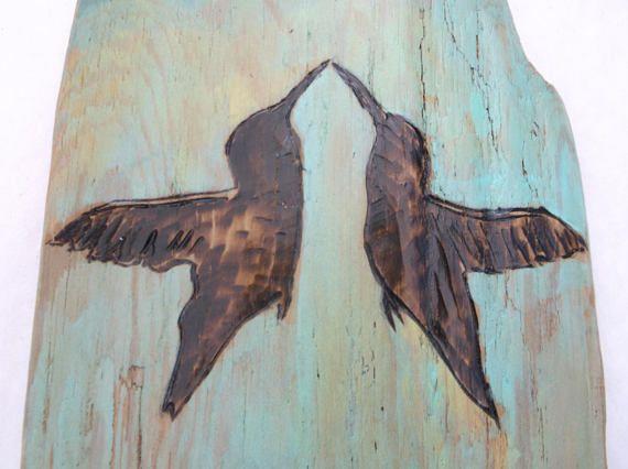 HUMMINGBIRD KISS Driftwood Wall Art Hummingbird Home Decor