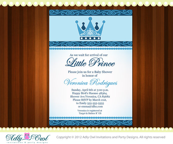 spring sale personalized little prince crown royal baby shower or, Baby shower invitations