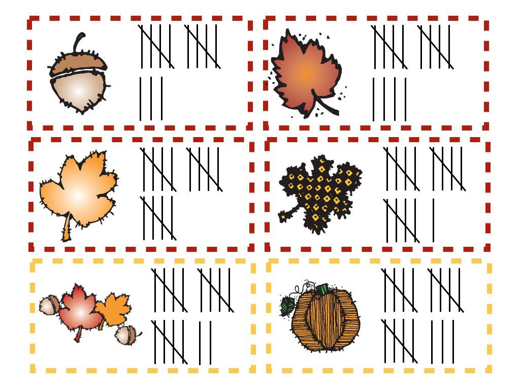 Free Autumn Math Bin Matching Numbers To Number Words To