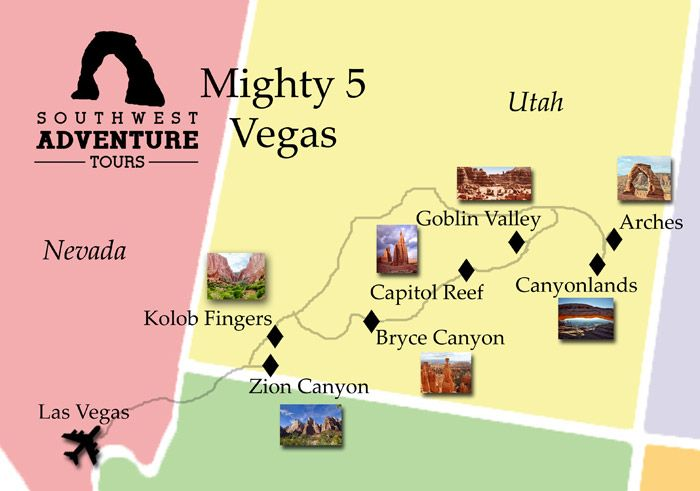 The Mighty Five Utah Map.Mighty 5 From Las Vegas Southwestadventuretours Com Travel Las