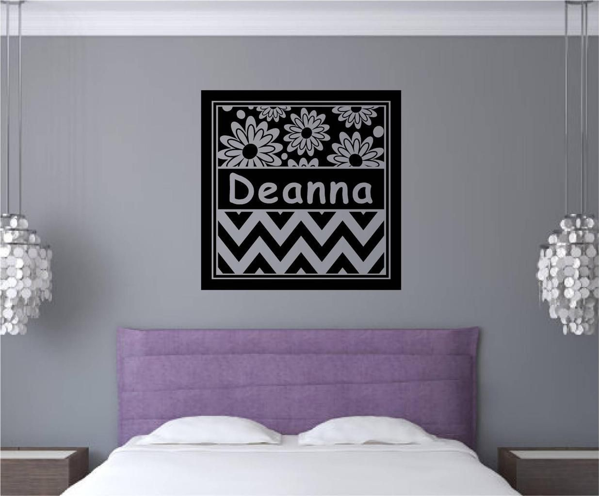 Custom name chevron frame flowers vinyl decal wall art stickers