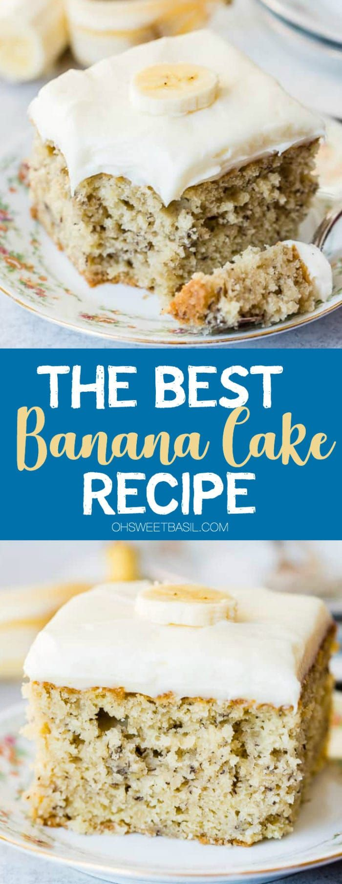 The BEST Banana Cake with Cream Cheese Frosting - Oh Sweet Basil