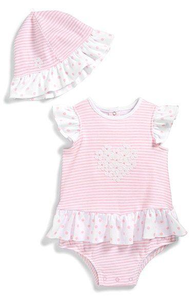 d8e40cb76475 Little Me Ruffled Bodysuit   Sun Hat (Baby Girls) available at  Nordstrom