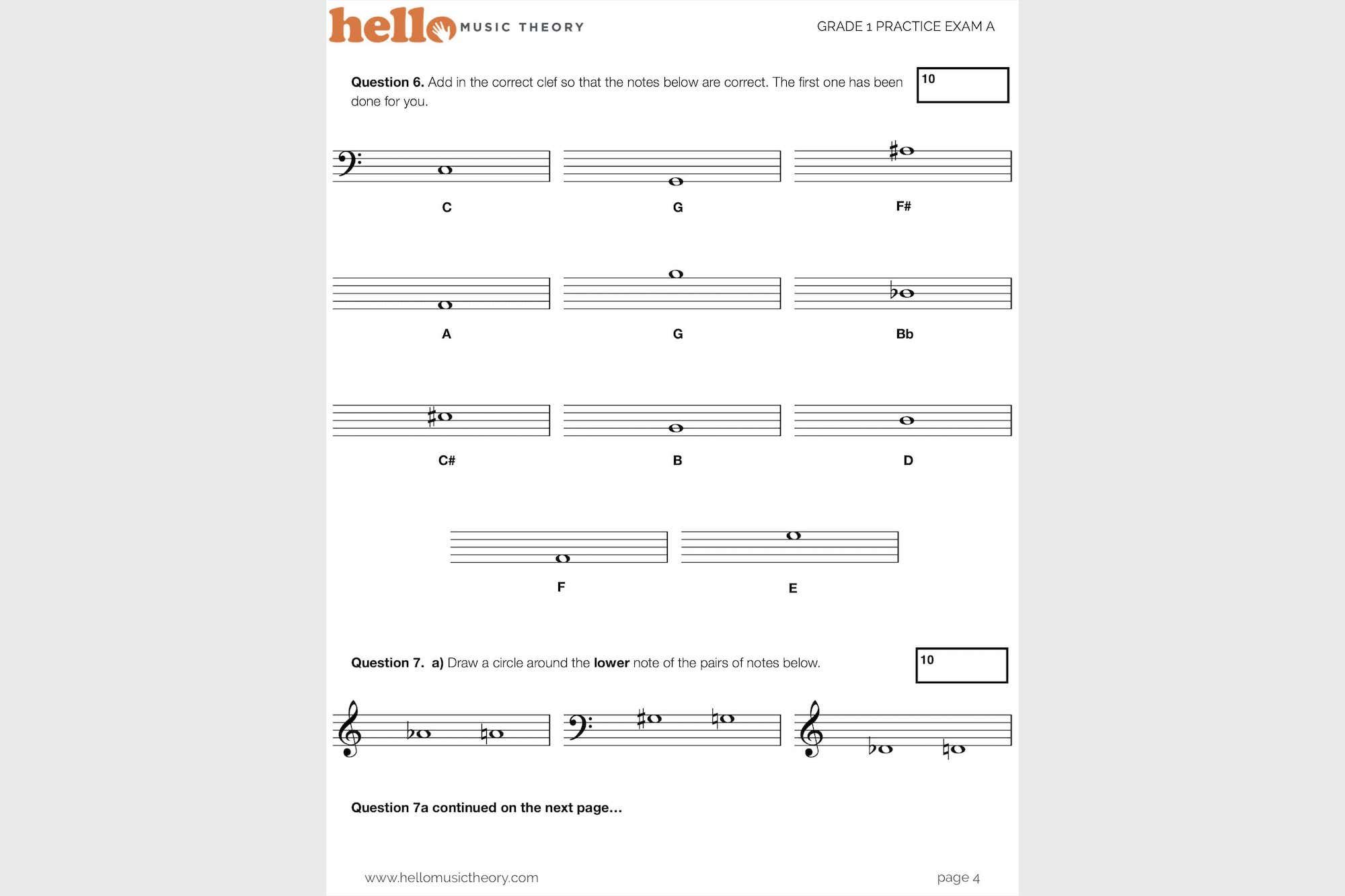 Sample from our Grade 1 Music Theory Exams Pack based on the ARBSM