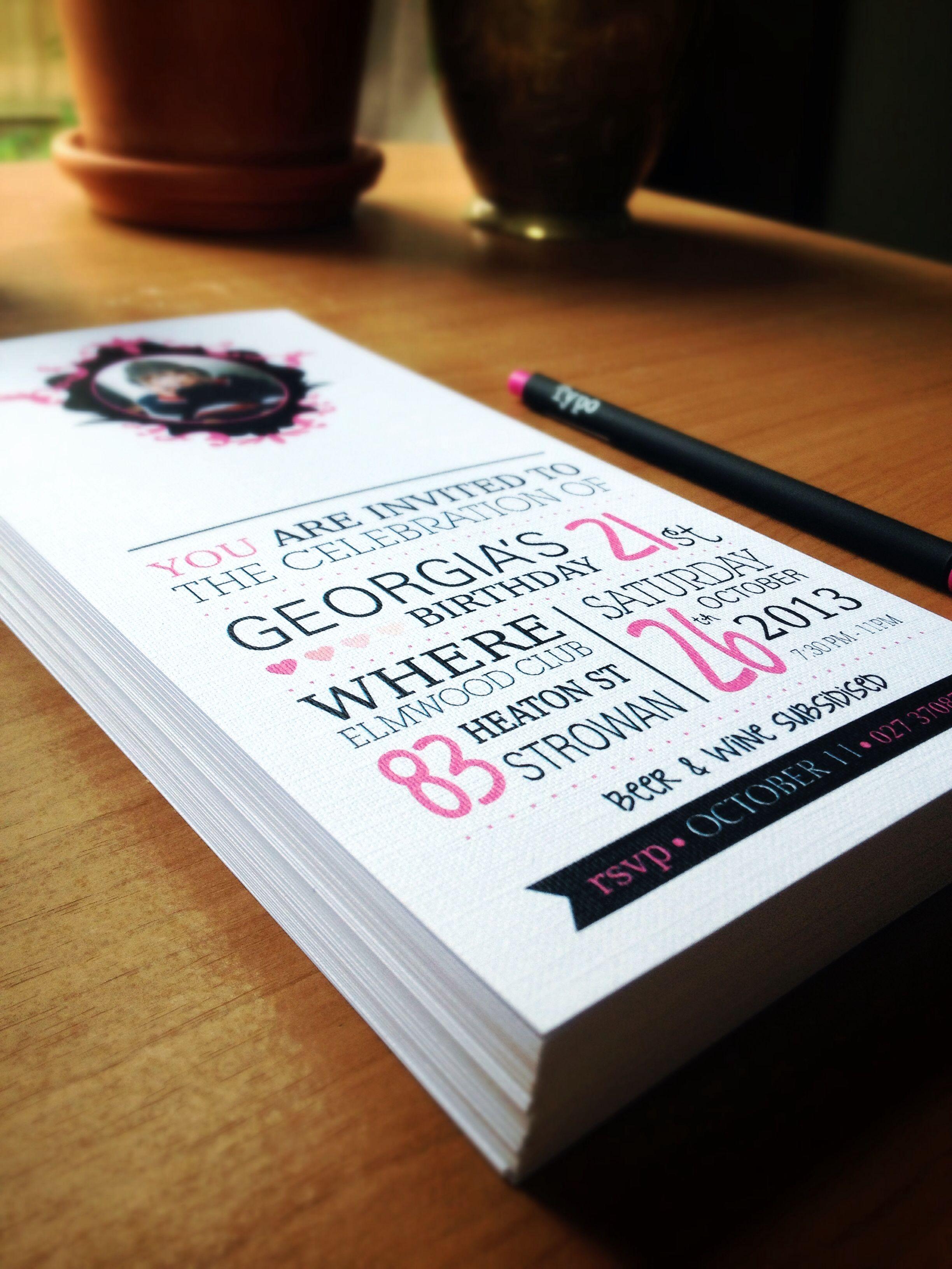 My girl friends 21st invite design printed on linen paper. Www ...