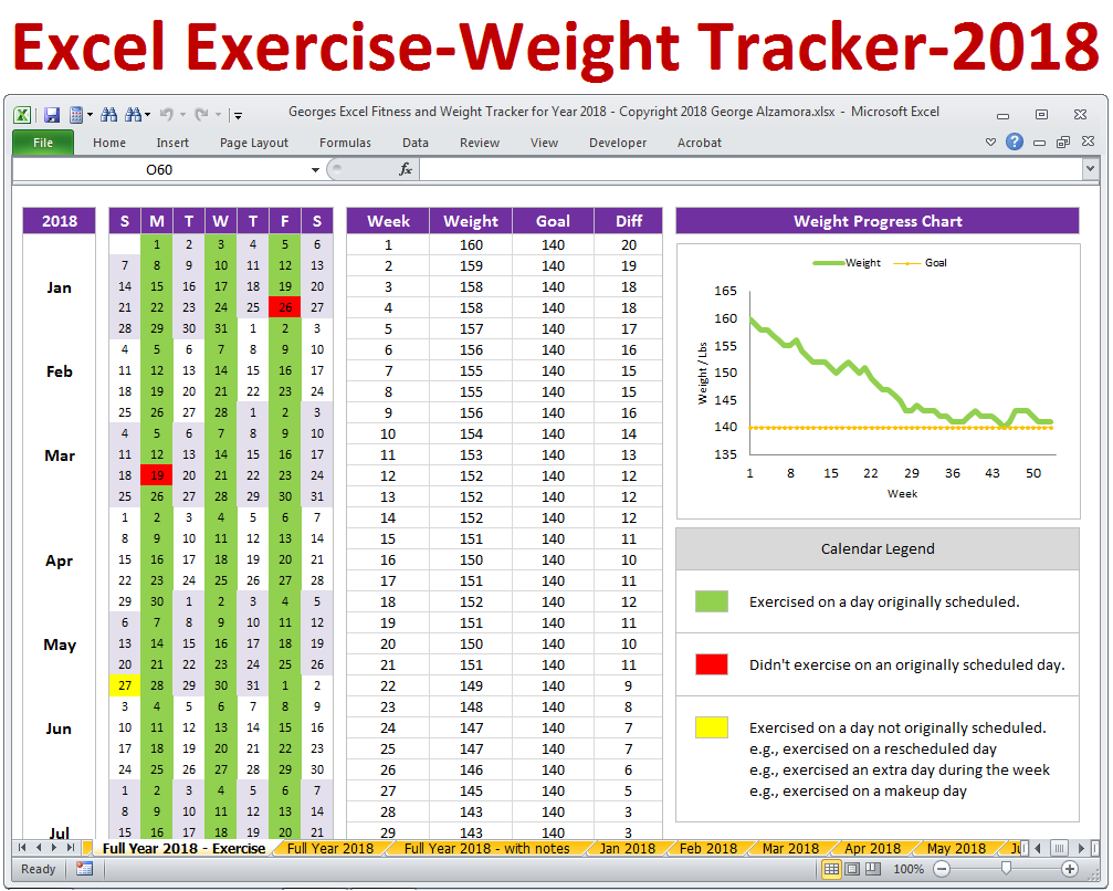 Excel Fitness Tracker And Weight Tracker For Year   Weight Loss