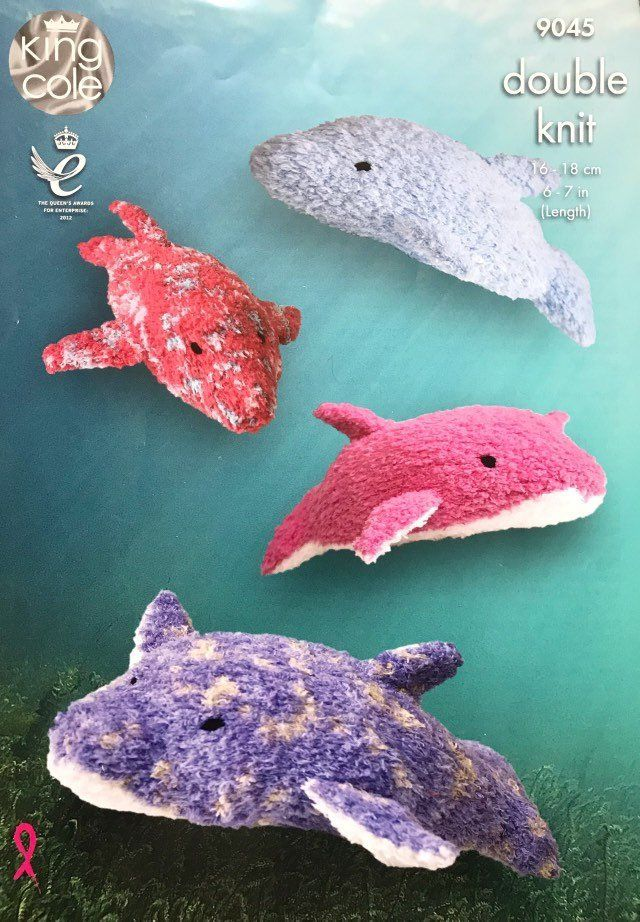 Small & Large Dolphins DK Toy Knitting Pattern King Cole ...