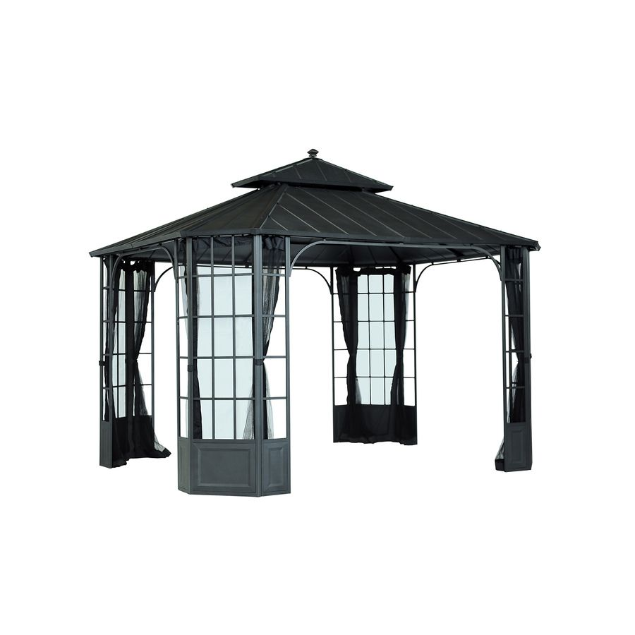 Sunjoy Black Steel Rectangle Permanent Gazebo Exterior 10 Ft X 12 Ft Foundation 10 Ft X 12 Ft Lowes Com Gazebo Steel Gazebo Permanent Gazebo