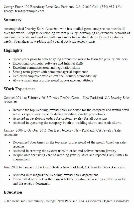 awesome 1 jewelry sales associate resume templates try