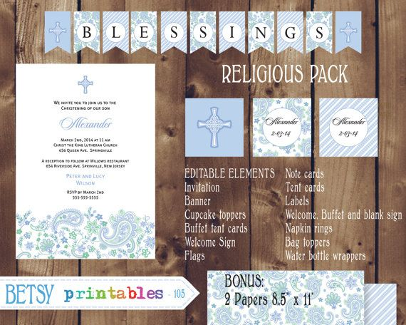 Religious celebration Kit, Baptism, Christening, First Communion, Confirmation DIY Editable - INSTANT DOWNLOAD 105