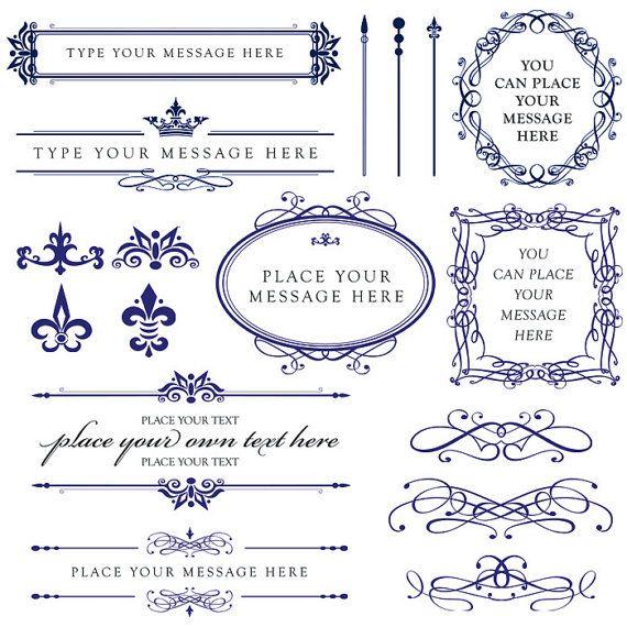 ROYAL BLUE Wedding Clipart DIY Invitations Digital Oval Frame ...