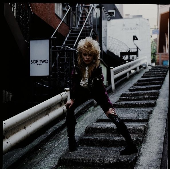 Michael Monroe on a street in Roppongi Tokyo March 1990