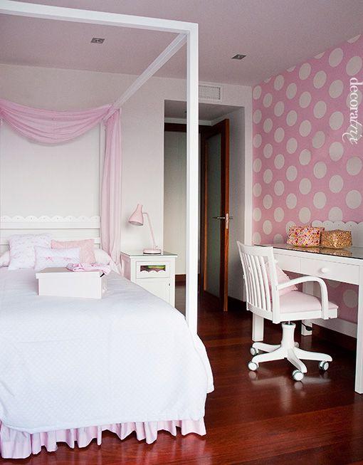 Rosa blanco y lunares habitaciones infantiles - Dosel cama nina ...