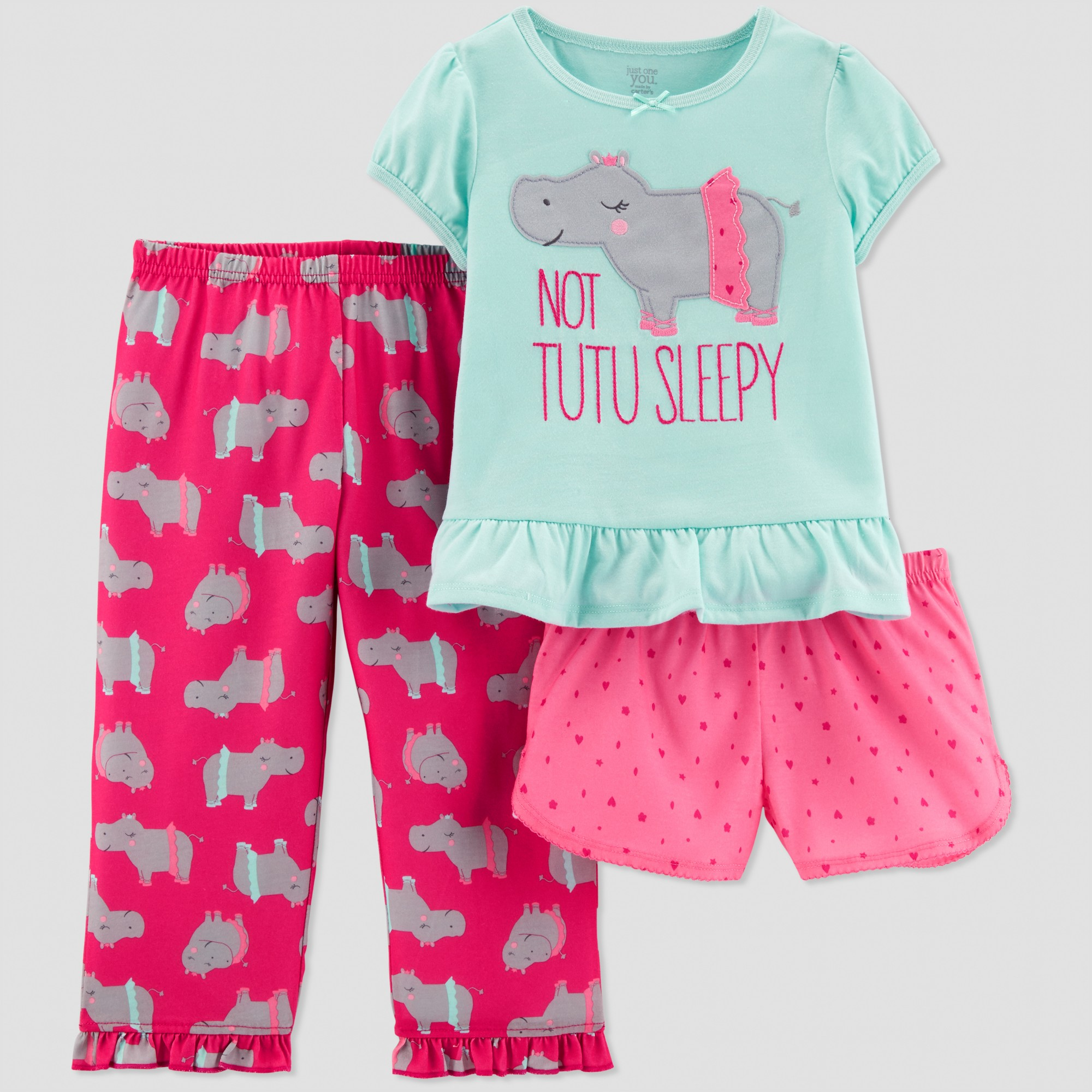 25ca4e9aa Toddler Girls  3pc Hippo South Pajama Set - Just One You made by ...