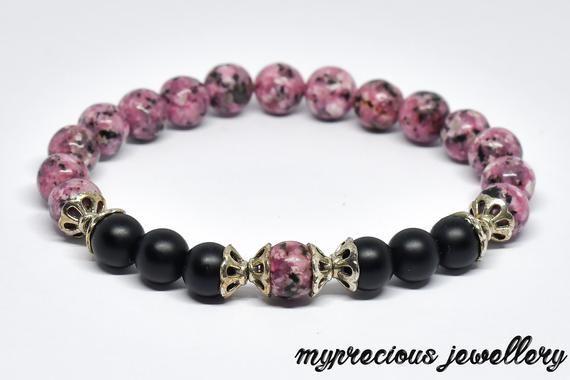 Natural Pink Dot Jasper Matt Onyx Gemstone Bracelet Stone UK Rock Elasticated Reiki Chakra