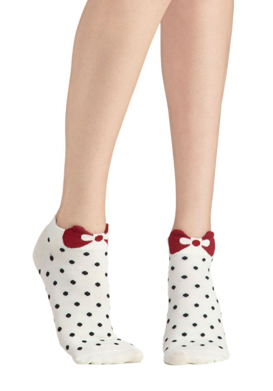 Spot Me Socks in Cream. Did someone say adorable polka dots with a red bow on top? #white #modcloth