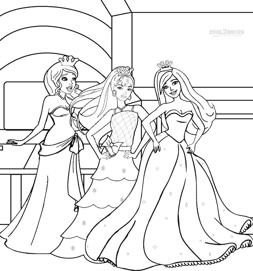Printable Barbie Princess Coloring Pages For Kids Cool2bkids Barbie Coloring Pages Coloring Pages Princess Coloring Pages