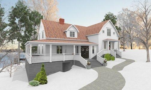 fasad,new england,utbyggnad,vitt hus,hälsingland,20-tal,porch ...