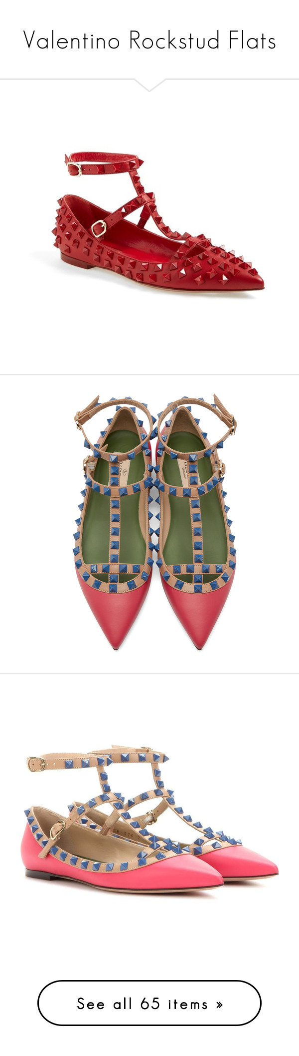 """""""Valentino Rockstud Flats"""" by leanne-mcclean ❤ liked on Polyvore featuring shoes, flats, flat shoes, t bar flats, t strap flats, strappy flats, pointed-toe ankle-strap flats, leather sole shoes, pink flats and flat heel shoes"""