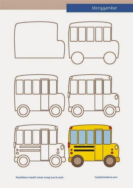 Langkah Mudah Menggambar Bus Sekolah Untuk Tk Sd Paud Kerajinan