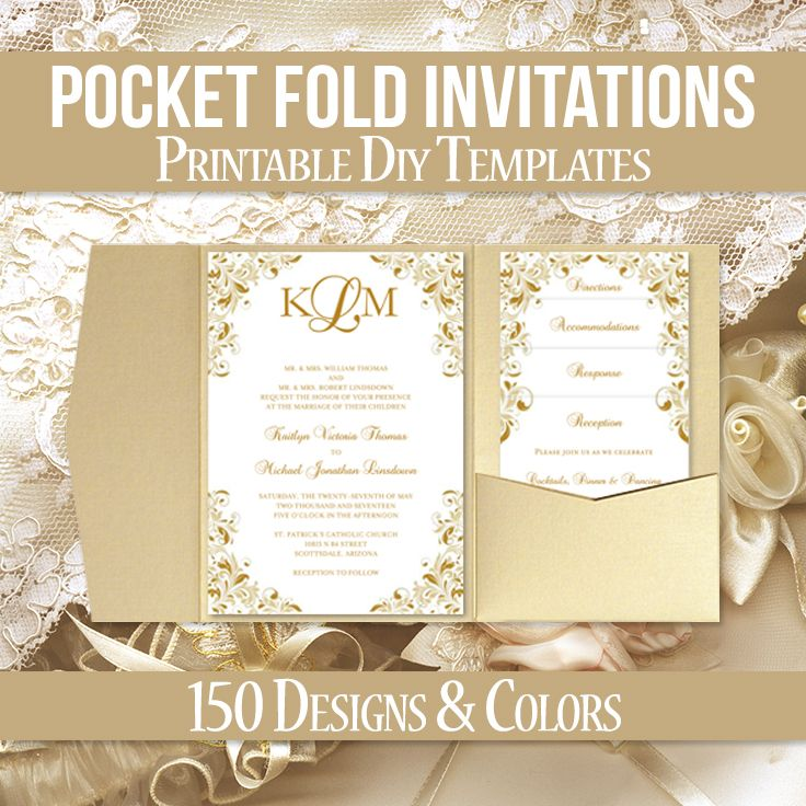 Pocketfold Wedding Invitations, Pocket Fold DIY Templates Gold ...