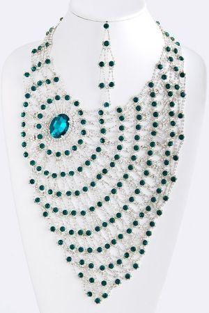 Aqamarine Crystal Lace Statement Necklace by eula.snow