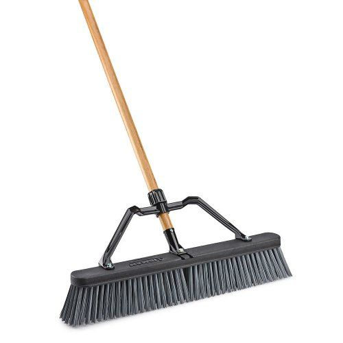 Libman 829 Push Broom With Hard Polymer Support Brace 24 Heavy Duty Bristles Wood Handle Push Broom Commercial Cleaning Supplies Broom