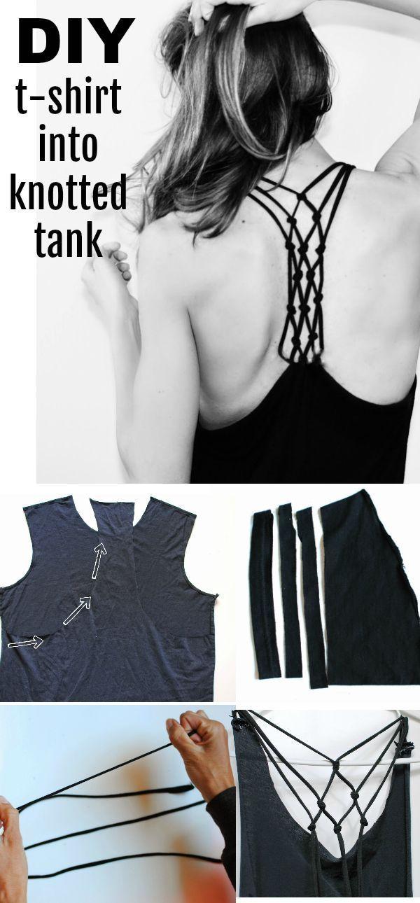 DIY T-Shirt in geknoteten Racerback - Ariel Quintana #designofblouse