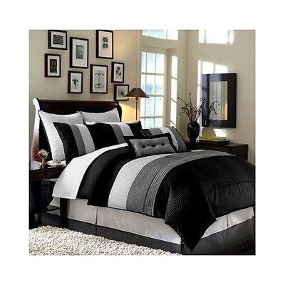 King Bedding Set Duvet Cover Black White Grey Blanket Stripe Bedroom Pillow Sham