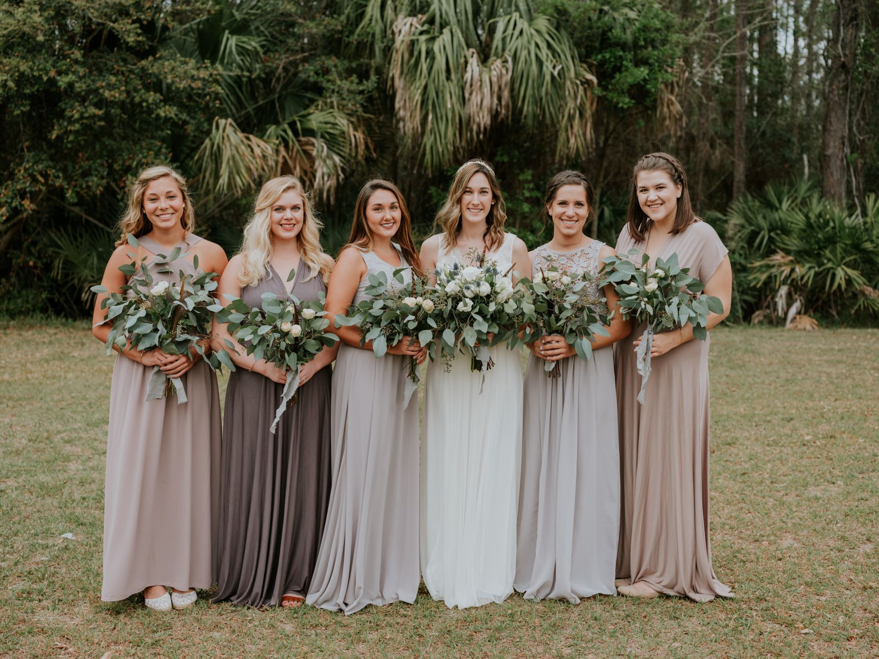 Bridesmaid Photos Eucalyptus Wedding Bouquets Mismatched Dresses Lavender Photo By Stolen Glimpses Seattle