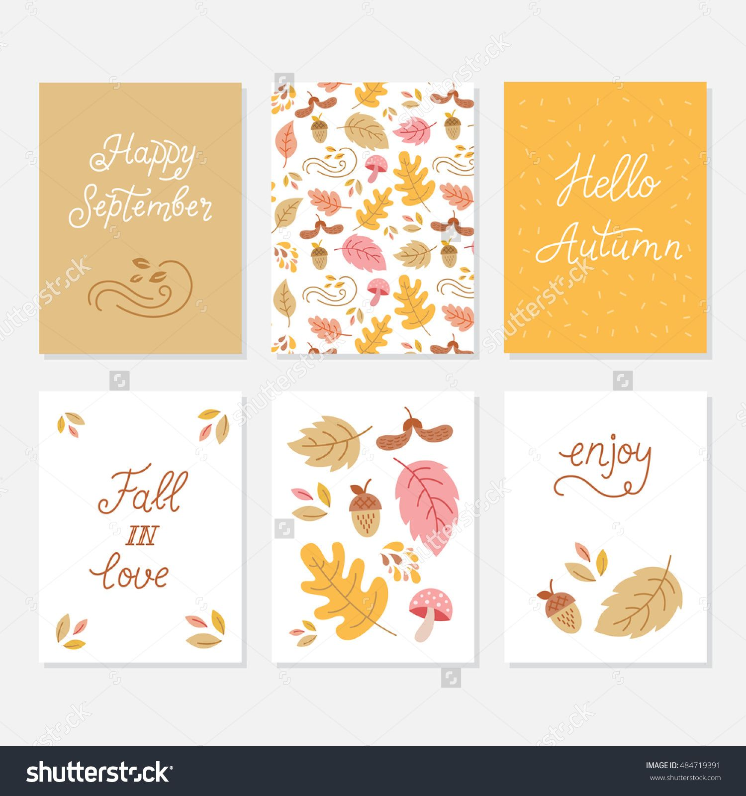 High Quality Happy September, Hello Autumn, Fall In Love, Enjoy   Phrases Set. Monoline  Calligraphy Quote Card Collection   Buy This Stock Vector On ...