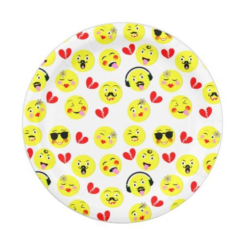 Funny Emoji Style Smiley Faces Theme Paper Plate  sc 1 st  Pinterest & Funny Emoji Style Faces Theme Paper Plate | Emoji and Smiley