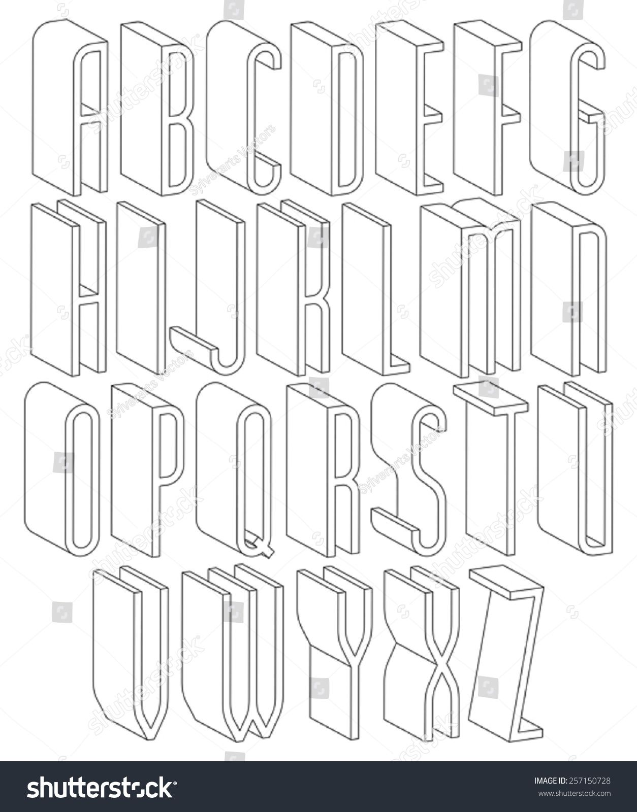 Black and white 3d font made with thin lines, single color simple ...