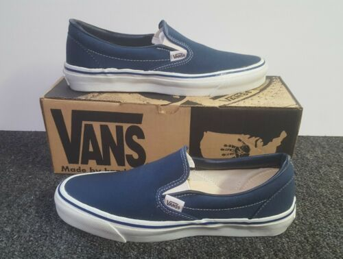 fd90b41855 Vintage Vans SLIP ON Shoes NAVY made in USA Men s Size 10 NOS BMX old skool