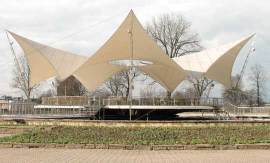 Tanzbrunnen fabric roof in cologne germany. architect: frei otto