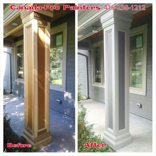 Newly Built Porch Column Painted 2 Tone Grey Home